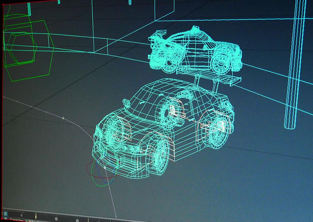 wireframe of 3d car rigged inside lightwave 3d