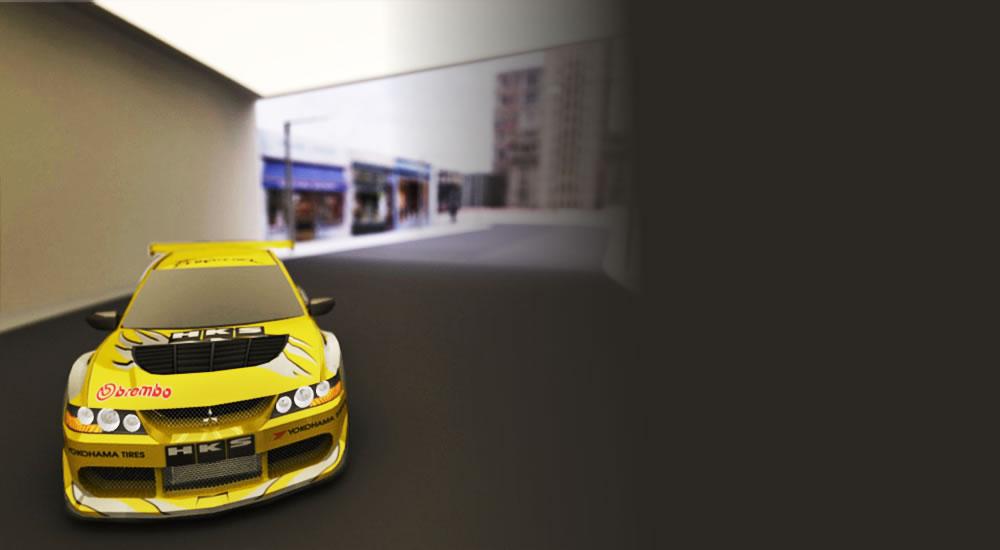 Yellow Lancer Evolution Vii Drifting