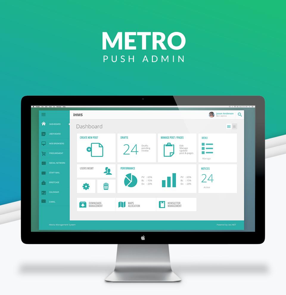 Metro Push Admin software interface design