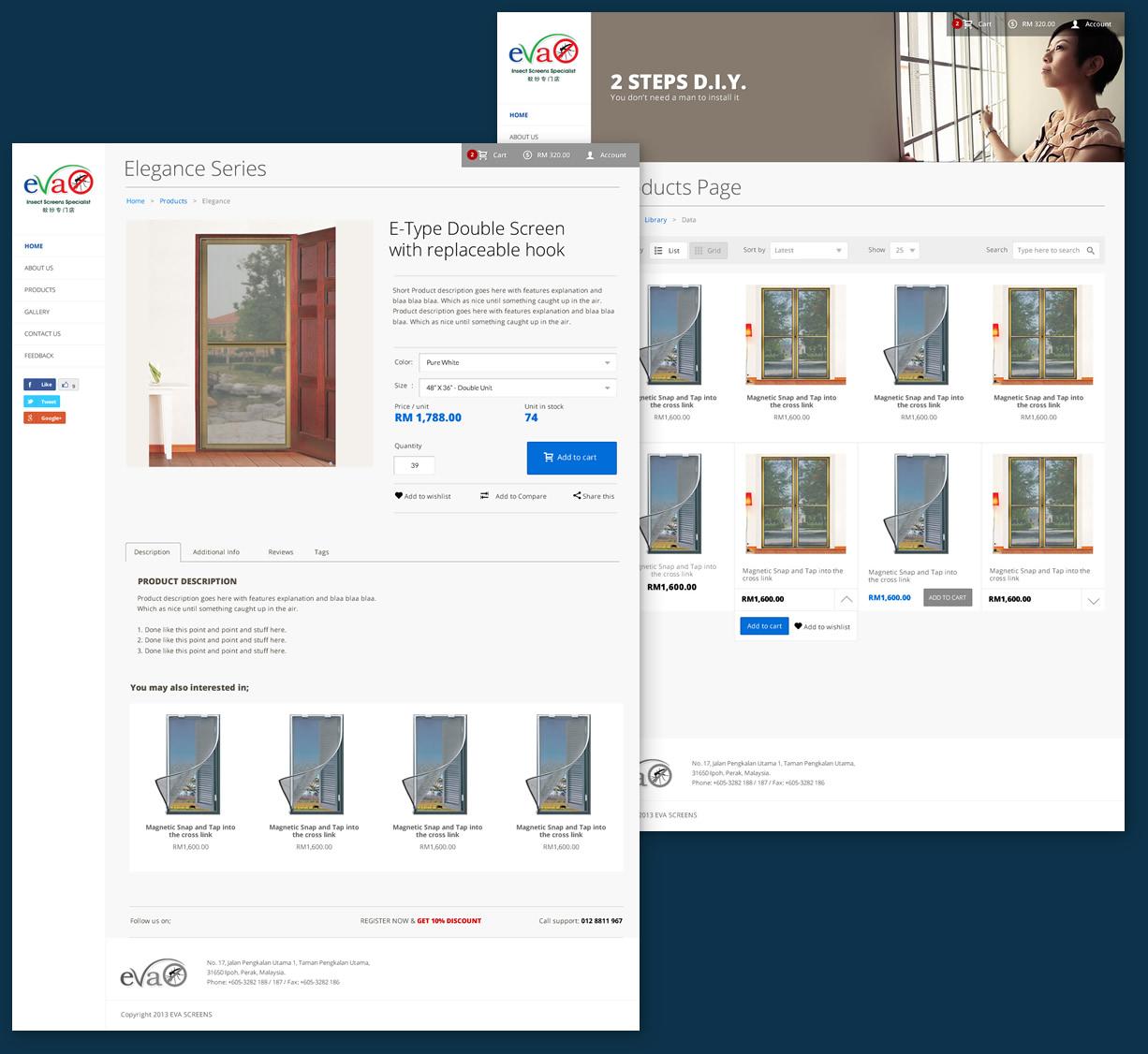 ecommerce webpage design evascreen ipoh