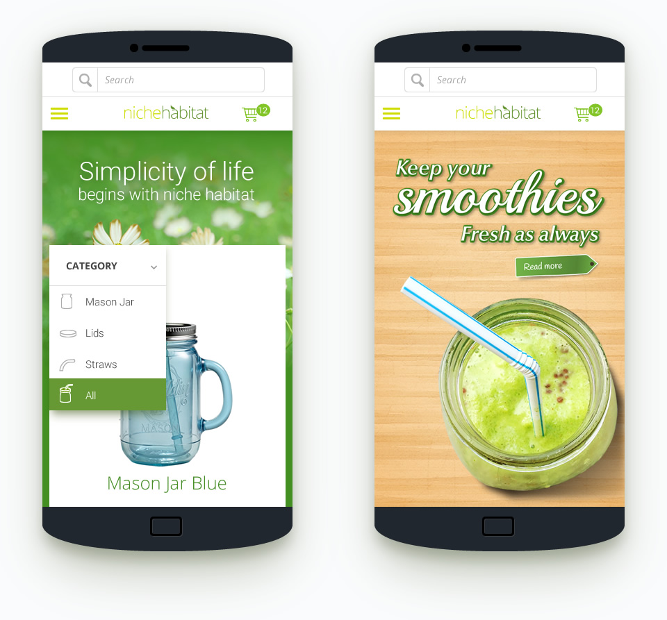 green natural vegan responsive website design