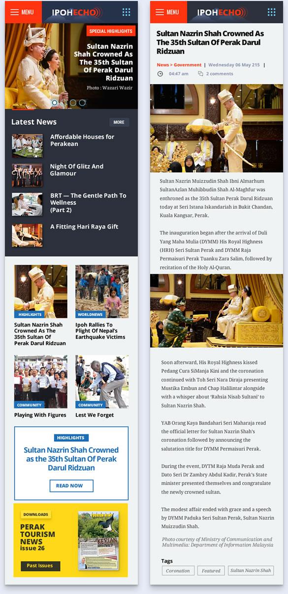 news page design on mobile phone