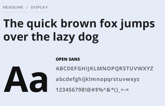 Headline and heading typo using Open Sans