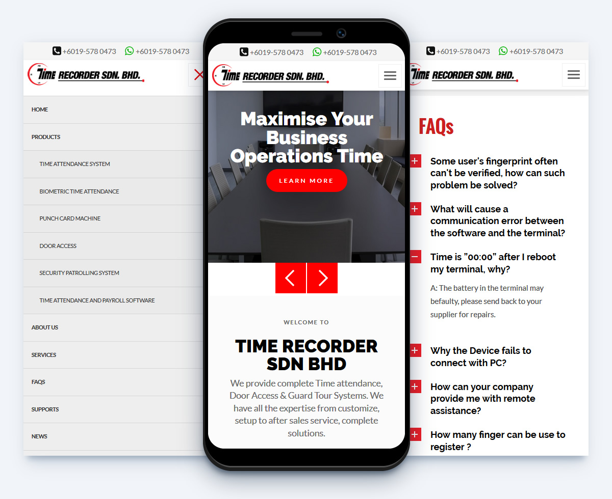 Time Recorder Retail Website Design