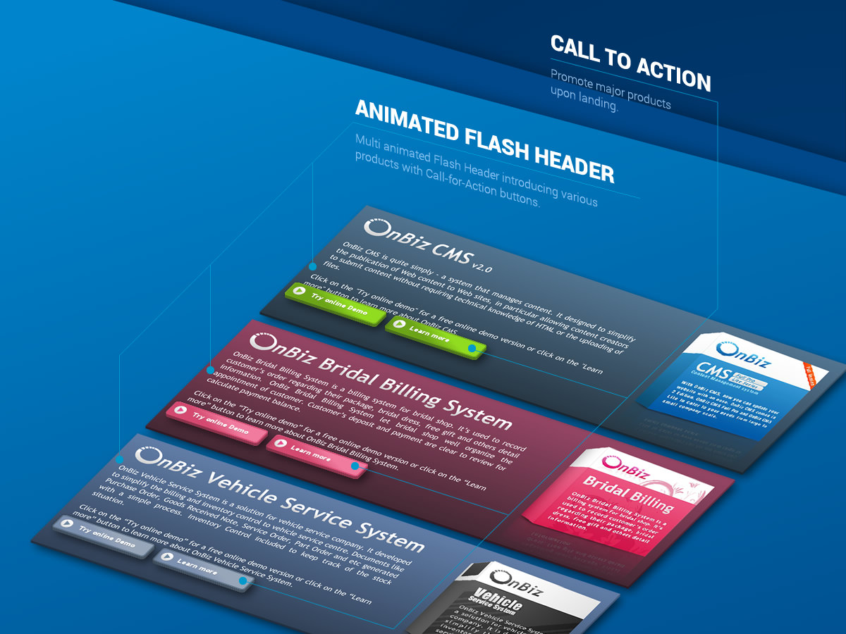 animated flash header in isometric view