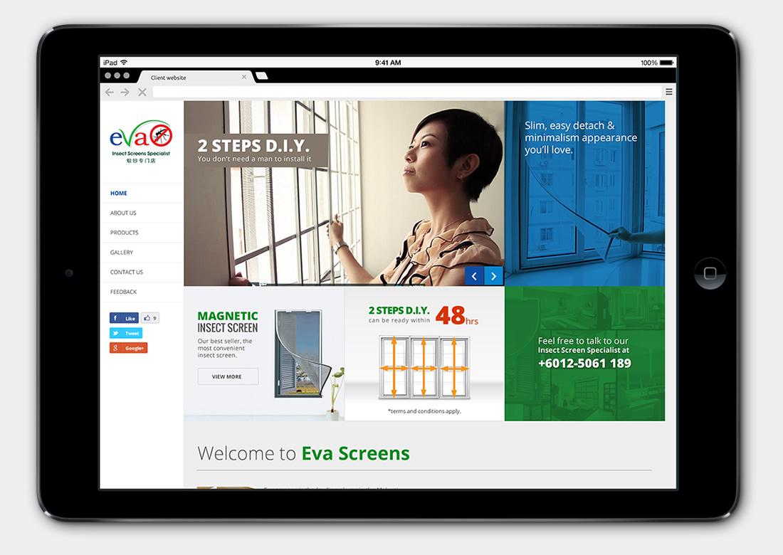 Evascreen Ipoh Website Design
