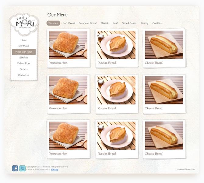 Freemori online bakery website design