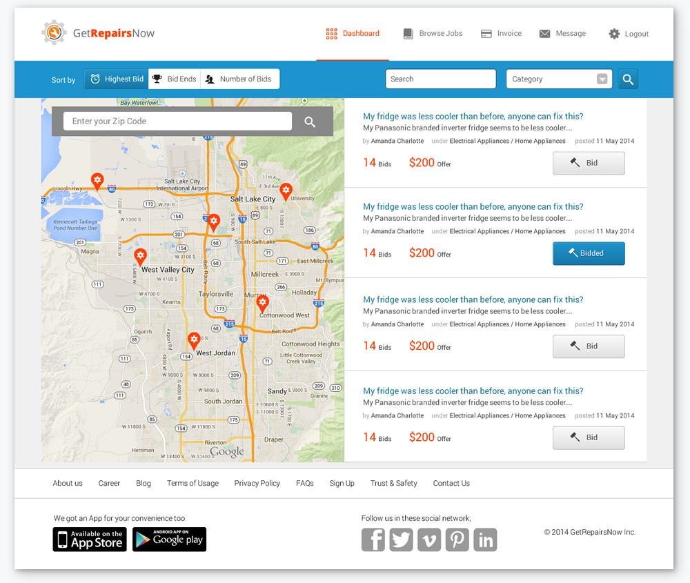 getrepairsnow map location and bidding screen