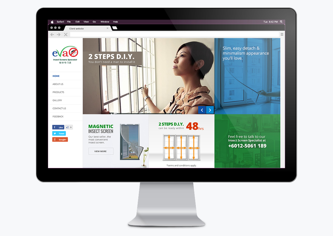 website design for Evascreen on desktop