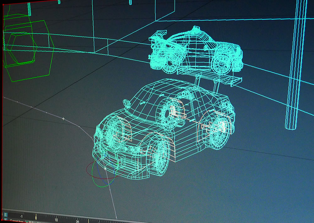 wireframe of 3d car rigged inside lightwave 3d
