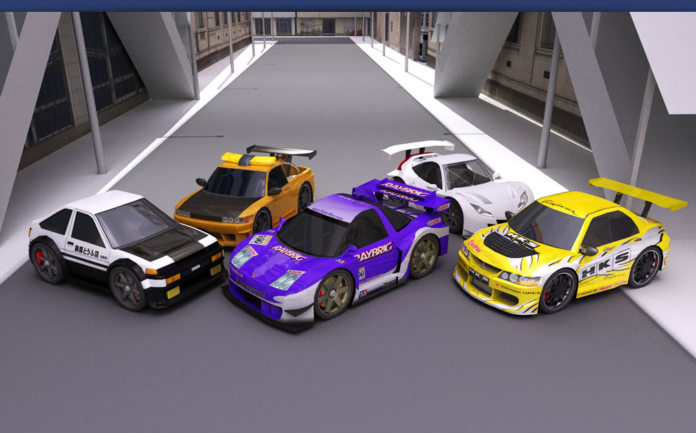 Sprinter Trueno Ae86, NSX, Silvia towtruck, Lancer Evolution Vii, HSV GT 010