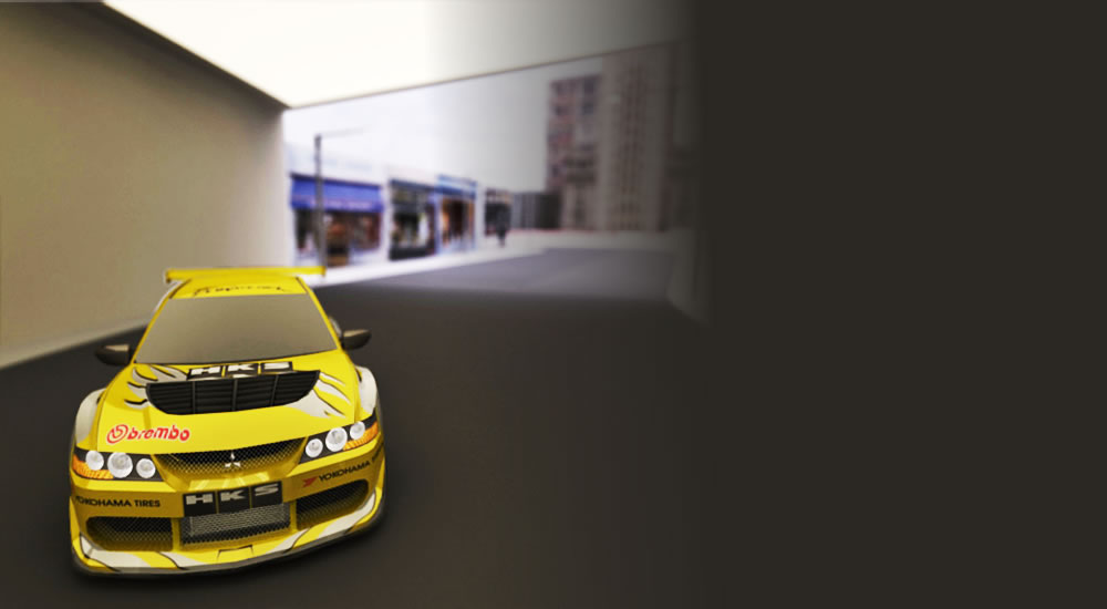 Yellow Lancer Evolution Vii Drifting