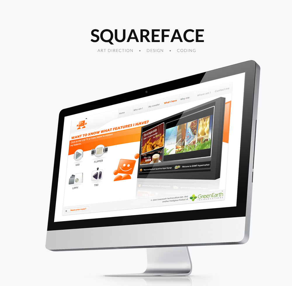 squareface digital signage full flash website design by Jonath Lee