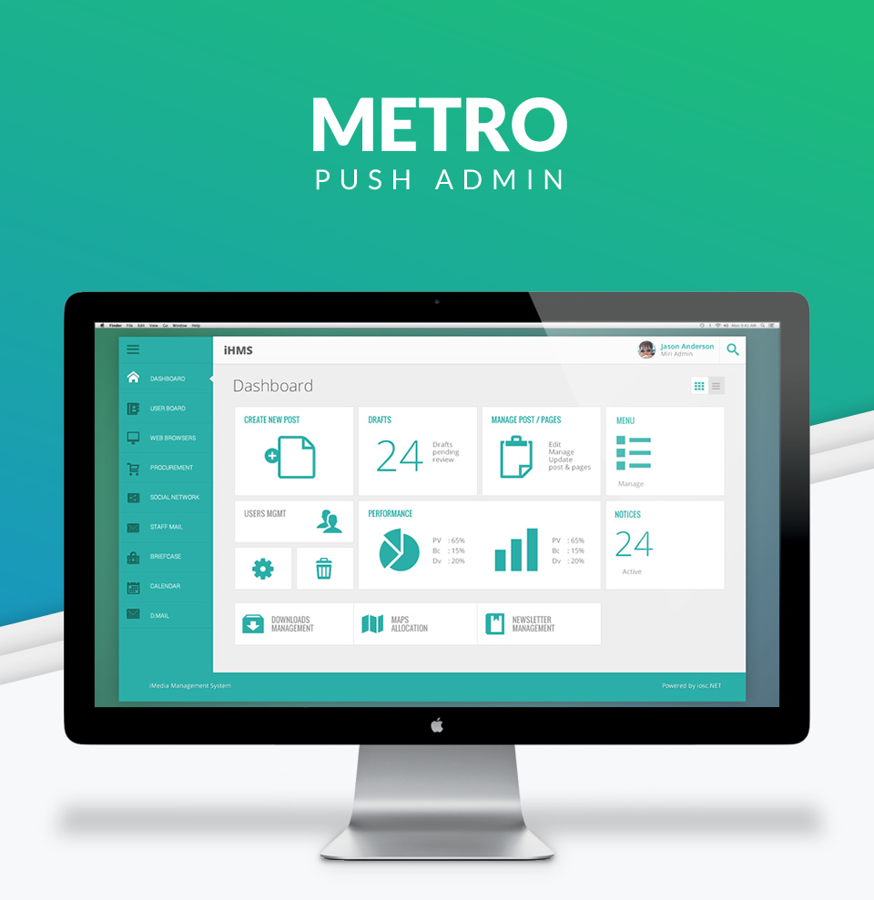 Metro Push Admin software interface design
