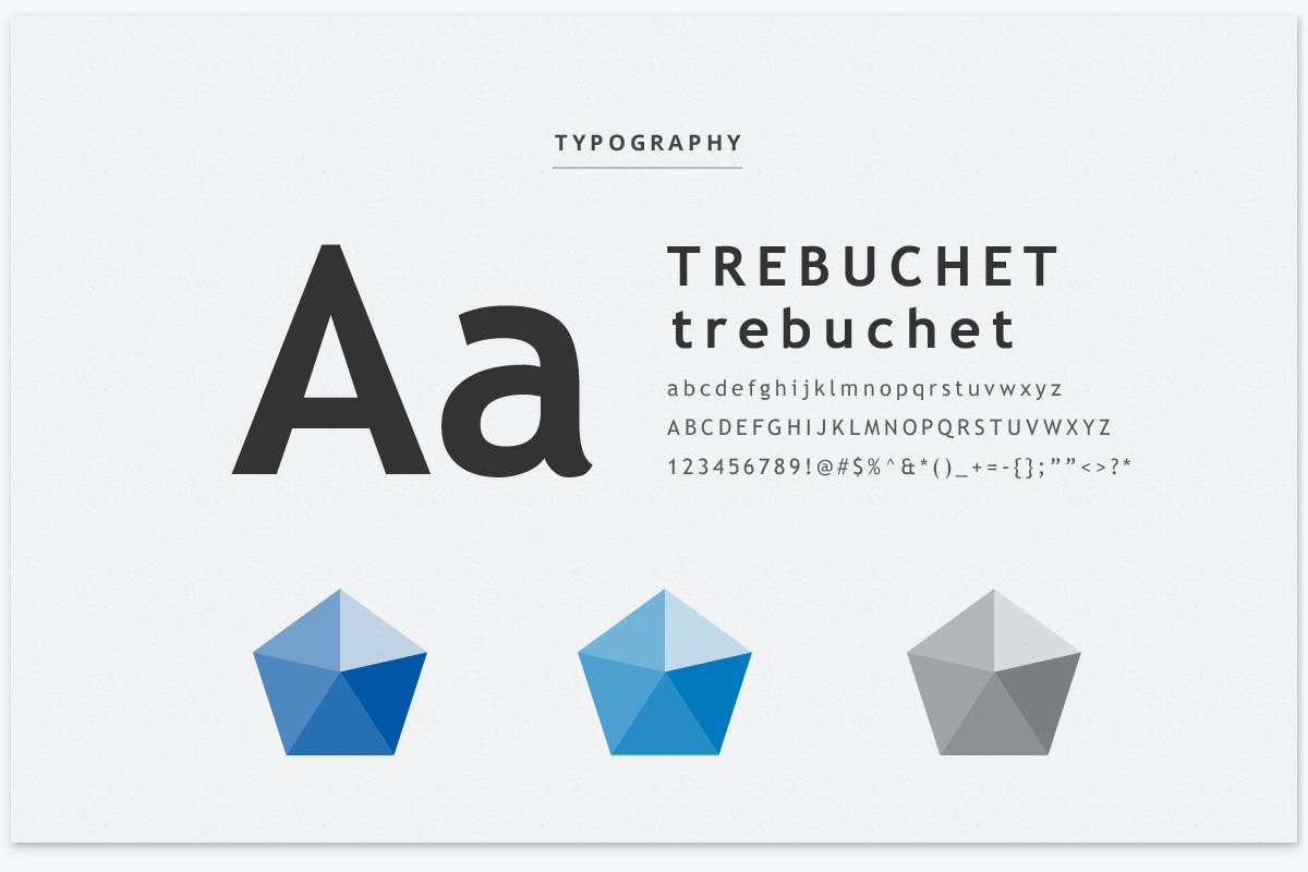 typography and color theme used in brand guide