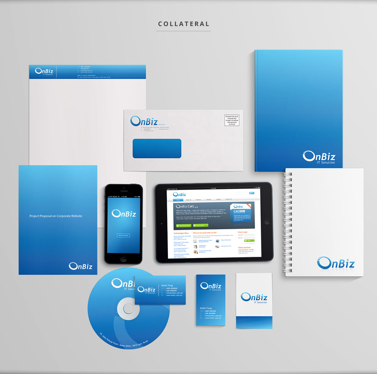 letterhead, envelope, business card, namecard, staff tag, website, cd, booklet in blue color