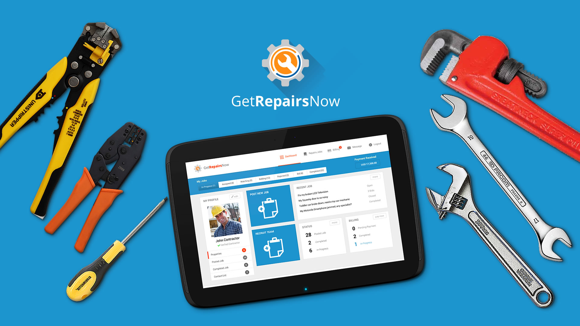 getrepairsnow-dashboard-design-on-tablet-hd