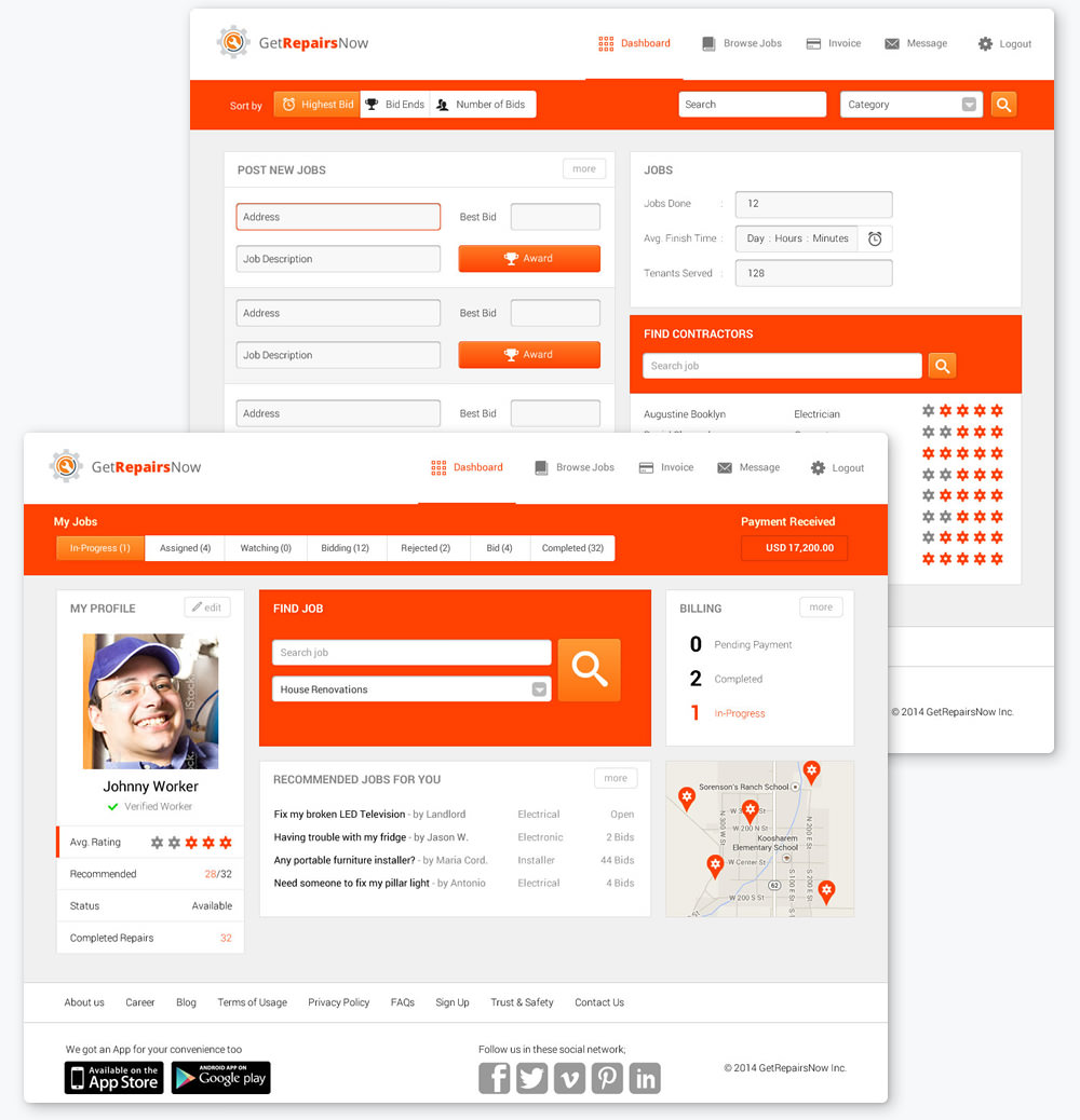 getrepairsnow-initial-draft-orange-color-admin-dashboard