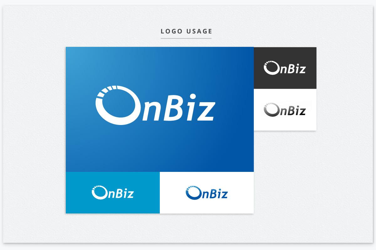 onbiz logo in full color mode, on dark color background
