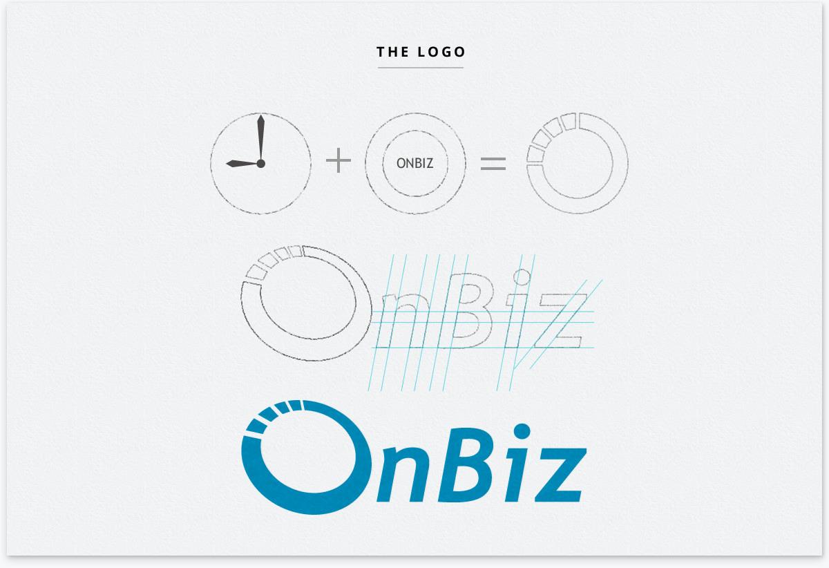 time saving software concept plus O represent OnBiz equal to OnBiz logotype
