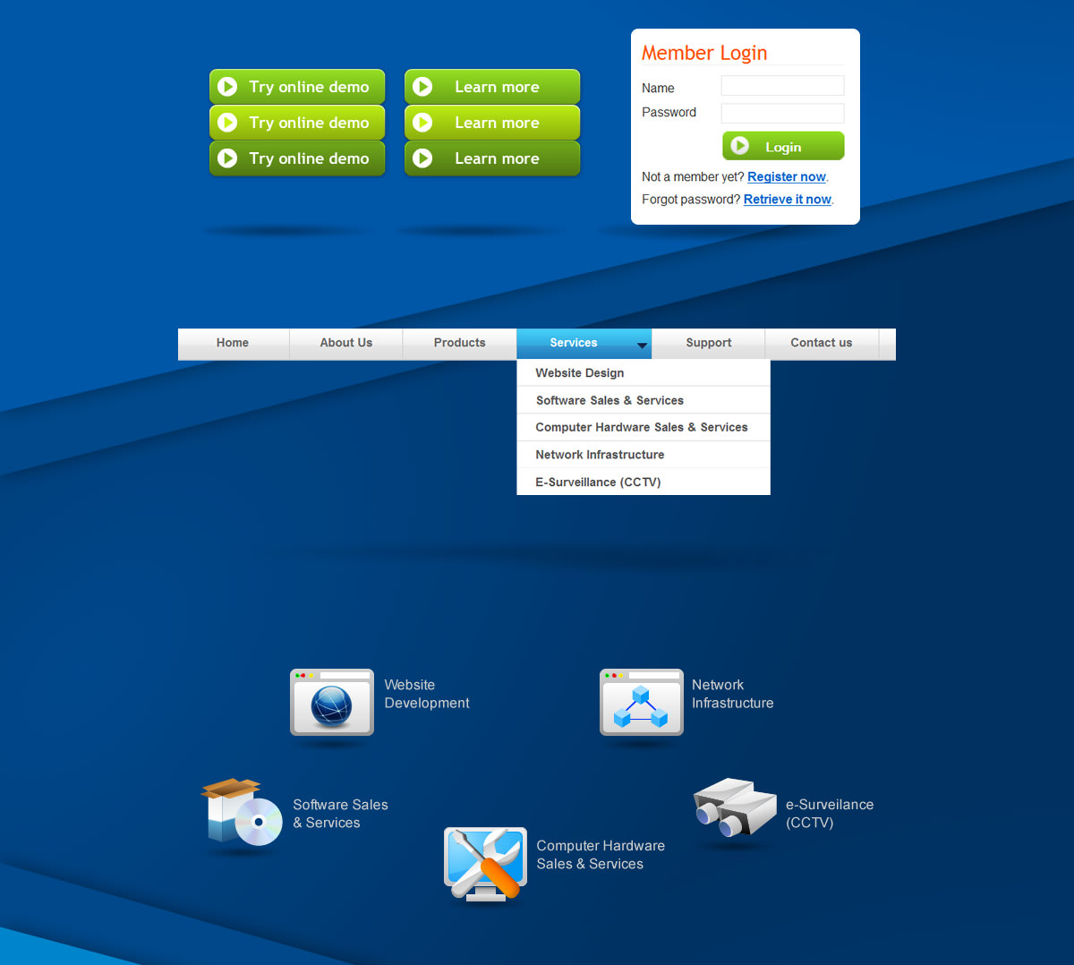 buttons on hover state, active state, main menu, logo design of cctv, website, web apps, technical support