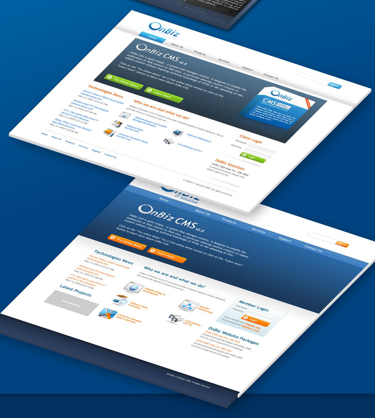 onbiz website in isometric view