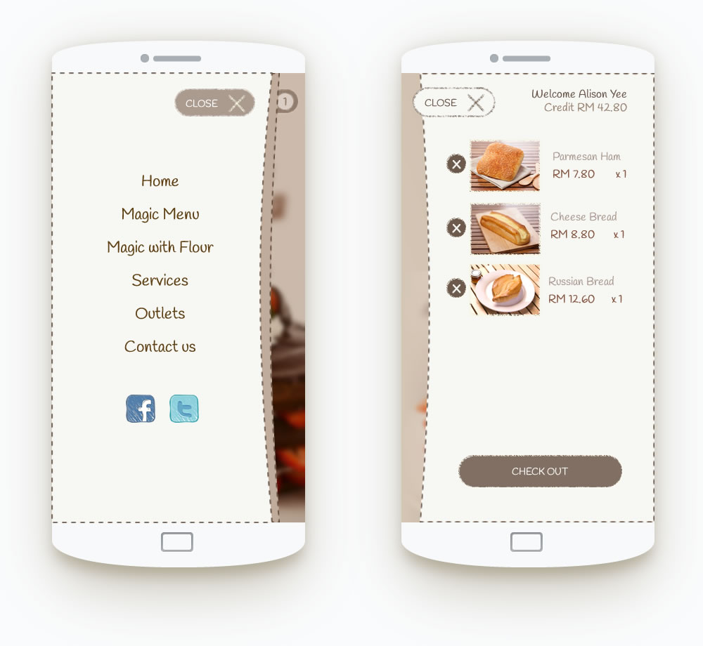mobile navigation and cart design
