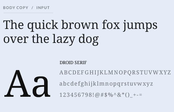 Body text using Droid Sans